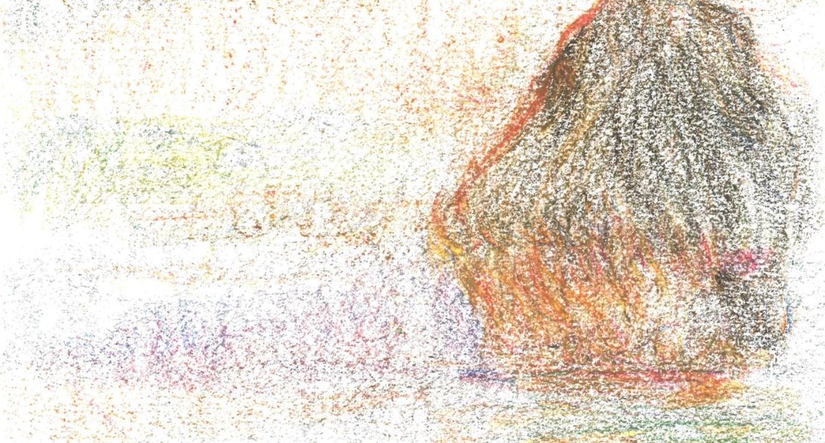 ドットミュゼクレヨンで描いた積み藁1